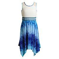 Girls 7-16 Emily West Woven Bodice Handkerchief Hem Dress