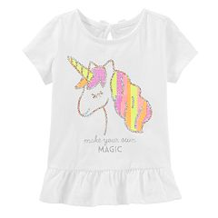 Toddler Girl OshKosh B'gosh® Sequined Unicorn Peplum-Hem Tee