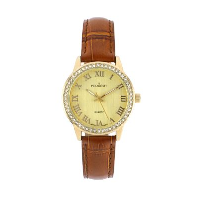 Peugeot Women's Crystal Leather Dress Watch - 3049BR
