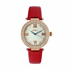 Peugeot Women's Crystal Leather Watch - 3046RD