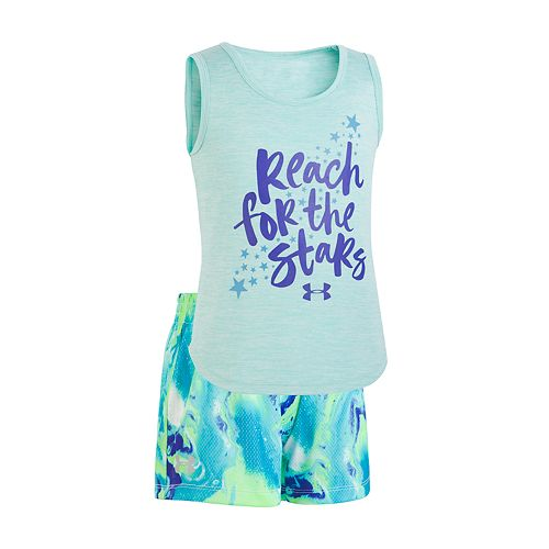"""Toddler Girl Under Armour """"Reach For The Stars"""" Graphic Tank & Shorts Set"""