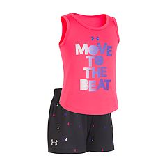 Toddler Girl Under Armour 'Move To The Beat' Graphic Tank & Shorts Set