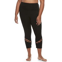 Juniors' Plus Size SO® Lattice Bottom High-Waist Yoga Capris