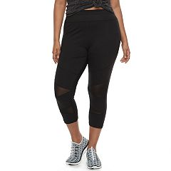 Plus Size SO® High Waisted Mesh Yoga Capris