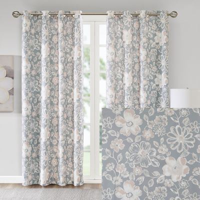 Madison Park Essentials Roxanne Floral Foamback 2-pack Window Curtains