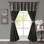 Madison Park Whitman Jacquard Window Valance & Faux Silk Curtain Set