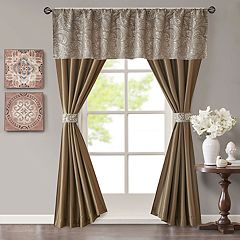 Madison Park Whitman Jacquard Window Valance & Faux Silk Curtain Set