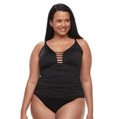 Plus Size Apt. 9® Tummy Slimmer Strappy One-Piece Swimsuit