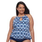 Plus Size Apt. 9® Bust Enhancer High-Neck Blouson Halterkini Top