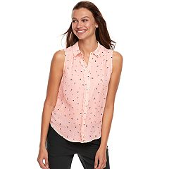 Women's ELLE™ Scalloped Chiffon Tank