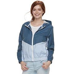Juniors' Pink Republic Colorblock Hooded Windbreaker Jacket