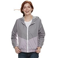 Juniors' Pink Republic Colorblock Hooded Windbreaker Jacket