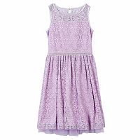 Girls 7-16 & Plus Size Speechless Allover Lace Beaded Waist Skater Dress