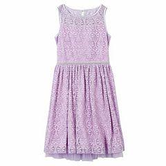 Girls 7-16 & Plus Size Speechless Allover Lace Beaded Waist Skater Dress