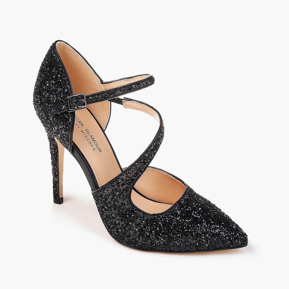 American Glamour by Badgley Mischka Adela Women's Glittery High Heels