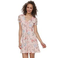Juniors' Wallflower Floral Mesh Skater Dress