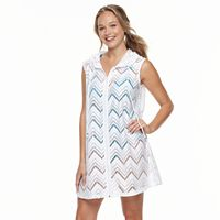Women's Portocruz Chevron Crochet Hooded Cover-Up Tunic