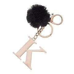 Faux-Fur Pom 'K' Initial Keychain