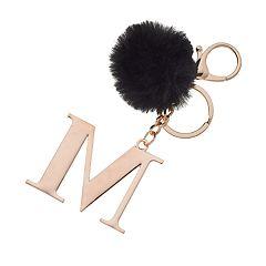 Faux-Fur Pom 'M' Initial Keychain