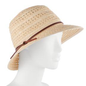 Women's Chaps Woven Eyelet Cloche Hat