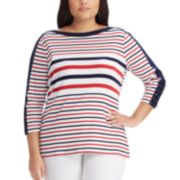 Plus Size Chaps Waffle-Knit Boatneck Top