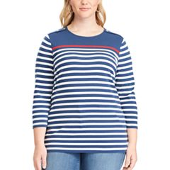 Plus Size Chaps Striped Jersey Crewneck Tee
