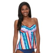 Women's Apt. 9® Tummy Slimmer Striped Bandeaukini Top