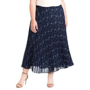 Plus Size Chaps Floral Pleated Georgette Skirt