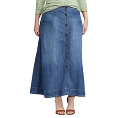 Plus Size Chaps A-Line Jean Maxi Skirt