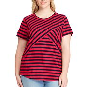Plus Size Chaps Striped Crewneck Tee