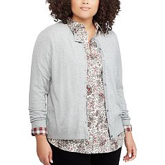 Plus Size Chaps Button-Front Cardigan