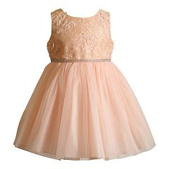 Toddler Girl Youngland Lace Bodice & Tulle Skirt Dress