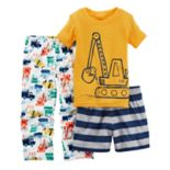 Toddler Boy Carter's 3-pc. Digger Construction Trucks Pajama Set