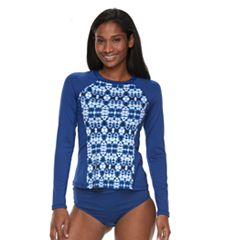 Women's Apt. 9® Tie-Dye Long Sleeve Rash Guard
