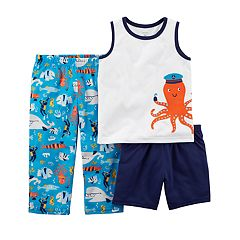 Toddler Boy Carter's Octopus & Sea Print Top, Shorts & Pants Pajama Set