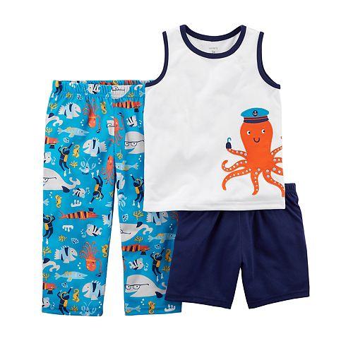 81e14f841 Toddler Boy Carter's Octopus & Sea Print Top, Shorts & Pants Pajama ...