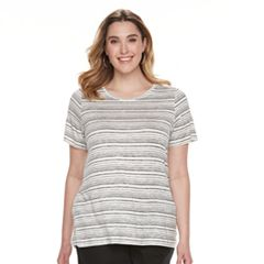 5938a47ad01 Plus Size Apt. 9® Crewneck Essential Tee. Ivory Black Stripes