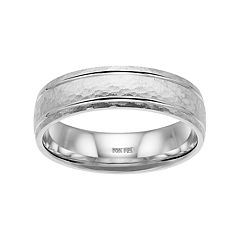Men's 14k White Gold Hammered Wedding Band