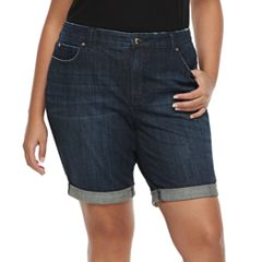 Plus Size Jennifer Lopez Cuffed Denim Bermunda Shorts