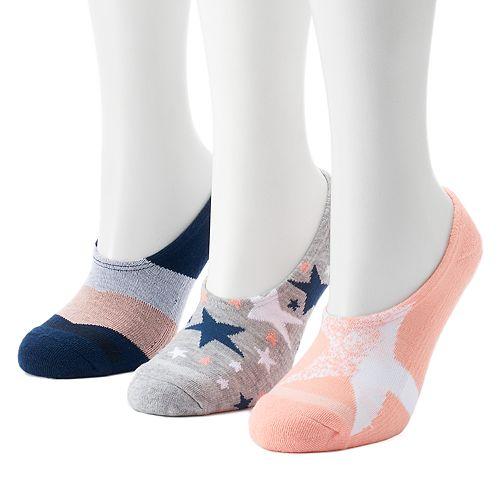 5252afcb636a Women s Converse Made for Chucks 3-Pack Stars   Stripes Liner Socks