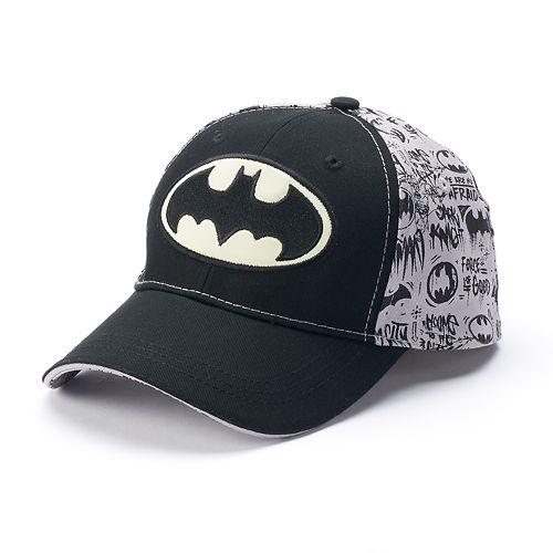 fd1595a6c5 Boys 4-20 DC Comics Batman Glow in the Dark Baseball Hat