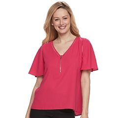 Women's Apt. 9® Zipper Accent Crepe Top