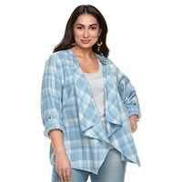 Plus Size SONOMA Goods for Life™ Flyaway Shirt Cardigan