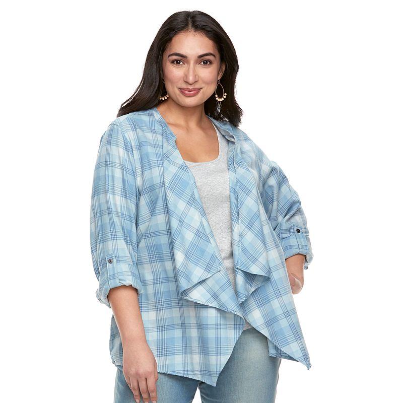 7d1d1b2e92f78 Plus Size SONOMA Goods for Life™ Flyaway Shirt Cardigan