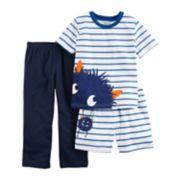 Toddler Boy Carter's 3-pc. Monster Striped Pajama Set