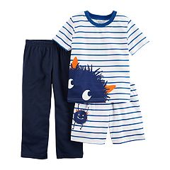 Toddler Boy Carter's 3-pc. Monster Striped Pajama Set