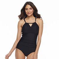 Women's Beach Scene Tummy Slimmer High-Neck One-Piece Swimsuit