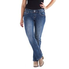 Juniors' Amethyst Double Button Slim Bootcut Jeans