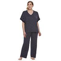 Plus Size Apt. 9® Lace Trim Tee & Pants Pajama Set