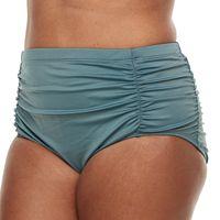 Plus Size Beach Scene Tummy Slimmer Ruched Bikini Bottoms